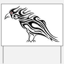 Glossy Black Raven Tattoo Yard Sign