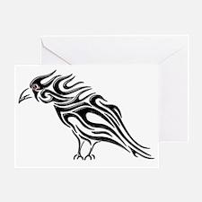 Glossy Black Raven Tattoo Greeting Card