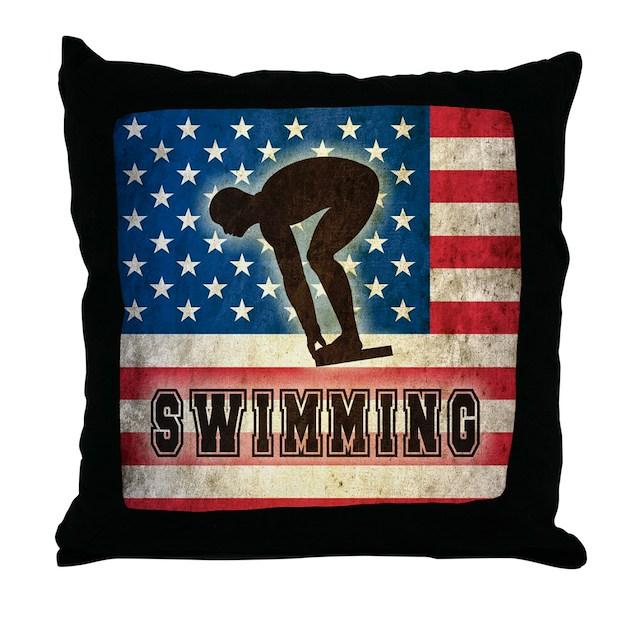 Throw Pillows Usa : Grunge USA Swiumming Throw Pillow by Admin_CP1030624