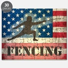 Grunge USA Fencing Puzzle