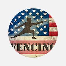 """Grunge USA Fencing 3.5"""" Button"""