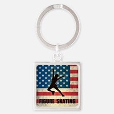 Figures Skating Square Keychain