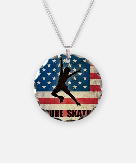 Figures Skating Necklace Circle Charm