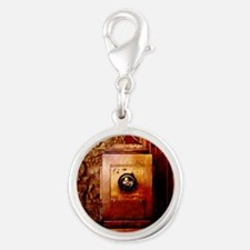 Vintage Large Format Camera Silver Round Charm