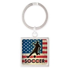 Grunge USA Soccer Square Keychain