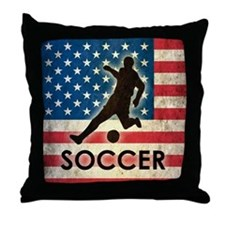 Grunge USA Soccer Throw Pillow