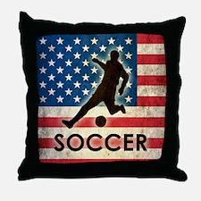 Grunge USA Soccer Throw Pillow