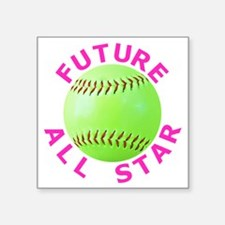 "Kids Softball Square Sticker 3"" x 3"""