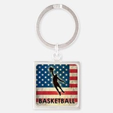 Grunge Basketball Square Keychain
