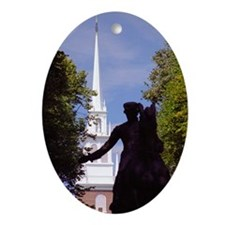 Boston-Paul Revere Silhouetted & Old Oval Ornament