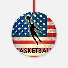 Grunge Basketball Round Ornament
