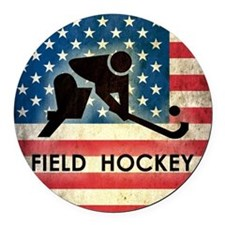 Grunge USA Hockey Round Car Magnet