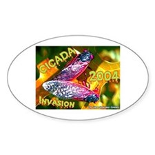 Cicada Purplish Orange Oval Decal