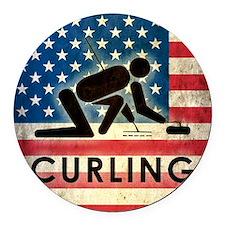 Grunge Curling Round Car Magnet