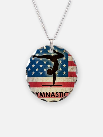 Grunge Gymanstics Necklace Circle Charm