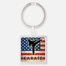 Grunge Karate Square Keychain