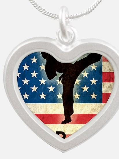 Grunge Karate Silver Heart Necklace
