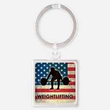 Grunge Weightlifting Square Keychain