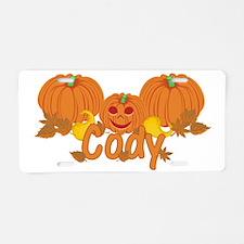 Halloween Pumpkin Cody Aluminum License Plate