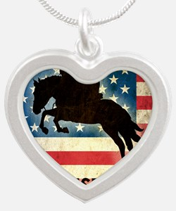Grunge USA Equestrian Silver Heart Necklace