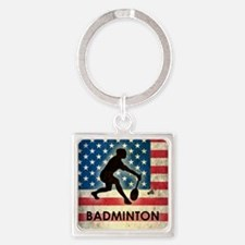 Grunge USA Badminton Square Keychain