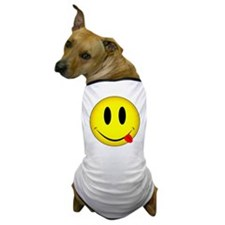 Yellow Smiley Face Tongue Dog T-Shirt