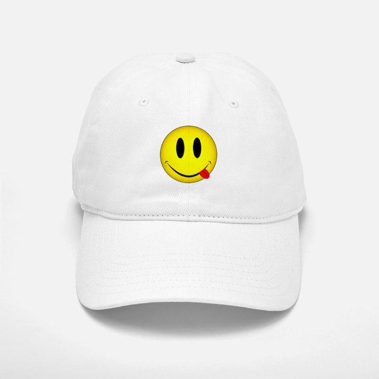 Yellow Smiley Face Tongue Baseball Baseball Cap