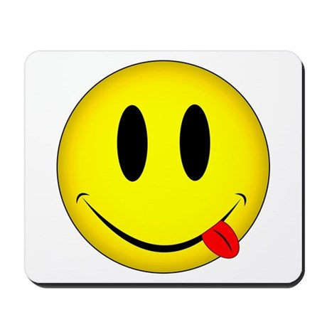 Yellow Smiley Face Tongue Mousepad