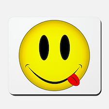 Yellow Smiley Face Tongue Mousepad