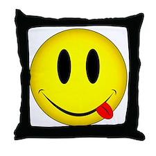Yellow Smiley Face Tongue Throw Pillow