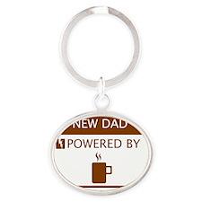 New Dad Powered by Coffee Oval Keychain
