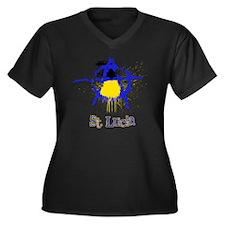 St. Lucianar Women's Plus Size Dark V-Neck T-Shirt