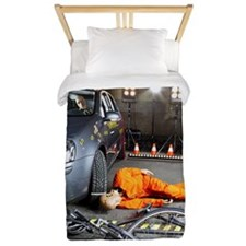 A crash test dummy on ground after bicy Twin Duvet