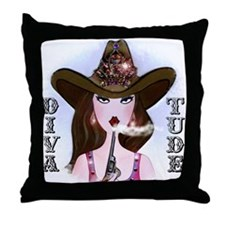 Cowgirl Design for cafe Throw Pillow