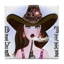 Diva of a Cowgirl Tile Coaster