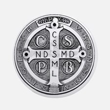 Medal of Saint Benedict Round Ornament