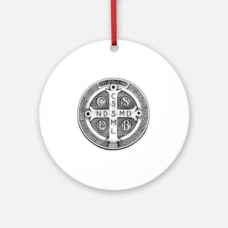 Medal of Saint Benedict Round Ornament