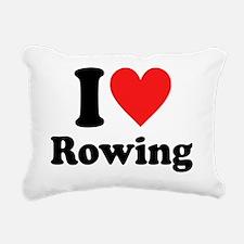 I Heart Rowing: Rectangular Canvas Pillow