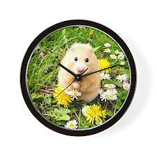 Golden syrian hamster on a spring meado Wall Clock