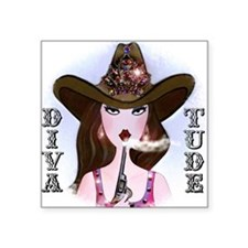"Diva of a Cowgirl Square Sticker 3"" x 3"""