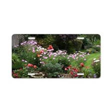 Colourful flowers in Englis Aluminum License Plate