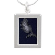 mermaid_color2 Silver Portrait Necklace