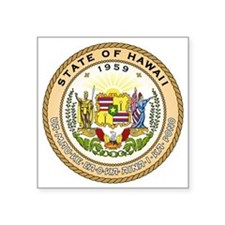 "Hawaii State Seal Square Sticker 3"" x 3"""