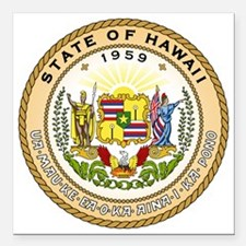 """Hawaii State Seal Square Car Magnet 3"""" x 3"""""""