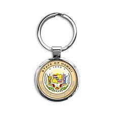 Hawaii State Seal Round Keychain