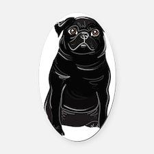 Black Pug Oval Car Magnet