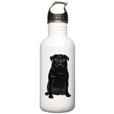Black Pug Water Bottle