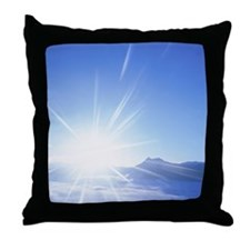 The Sun Rising Over Clouds and Lake M Throw Pillow