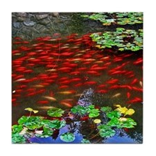 Red Fish in a pond Tile Coaster