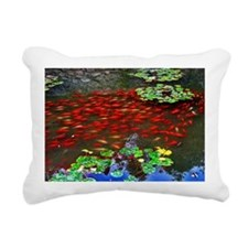 Red Fish in a pond Rectangular Canvas Pillow